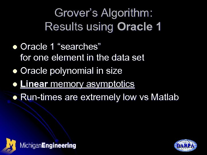 """Grover's Algorithm: Results using Oracle 1 """"searches"""" for one element in the data set"""