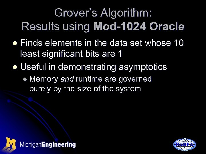 Grover's Algorithm: Results using Mod-1024 Oracle Finds elements in the data set whose 10