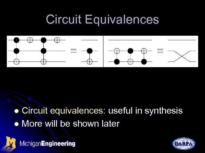 Circuit Equivalences Circuit equivalences: useful in synthesis l More will be shown later l