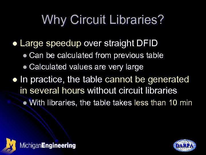 Why Circuit Libraries? l Large speedup over straight DFID l Can be calculated from