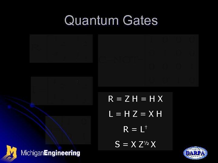 Quantum Gates R=ZH=HX L=HZ=XH R = L† S = X Z½ X DARPA