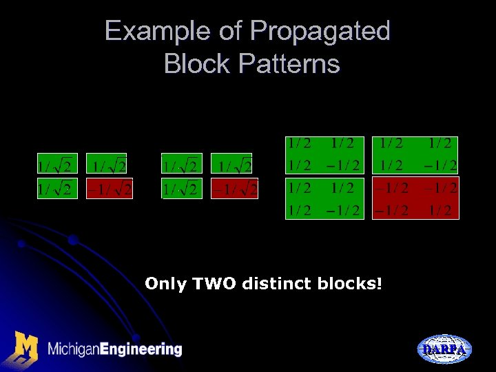 Example of Propagated Block Patterns Only TWO distinct blocks! DARPA