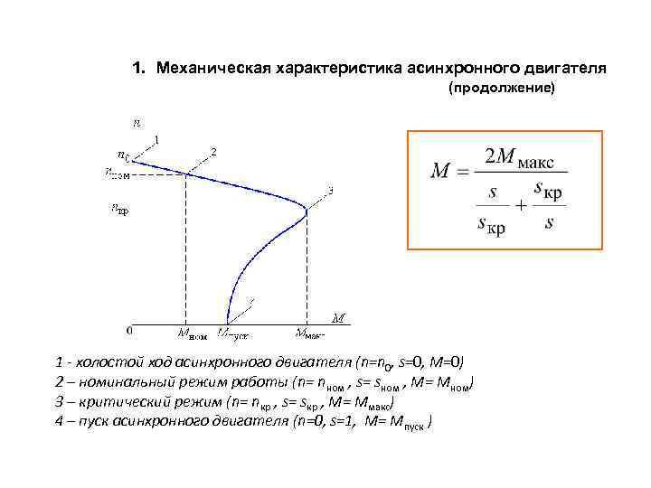 1. Механическая характеристика асинхронного двигателя (продолжение) 1 - холостой ход асинхронного двигателя (n=n 0,