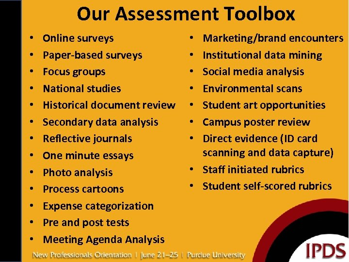 Our Assessment Toolbox • • • • Online surveys Paper-based surveys Focus groups National