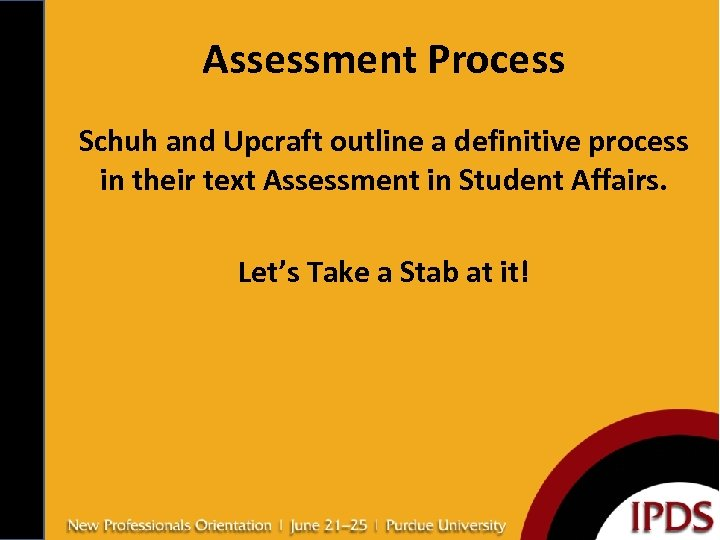 Assessment Process Schuh and Upcraft outline a definitive process in their text Assessment in