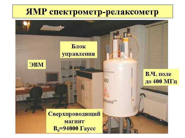 ЯМР спектрометр-релаксометр Блок управления ЭВМ В. Ч. поле до 400 МГц Сверхпроводящий магнит В