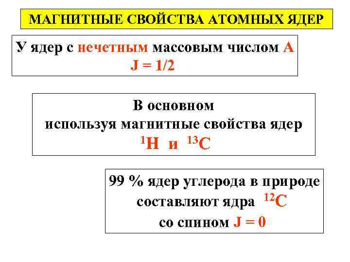 МАГНИТНЫЕ СВОЙСТВА АТОМНЫХ ЯДЕР У ядер с нечетным массовым числом А J = 1/2