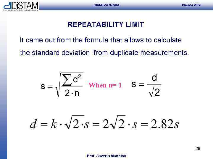 Statistica di base Poznan 2006 REPEATABILITY LIMIT It came out from the formula