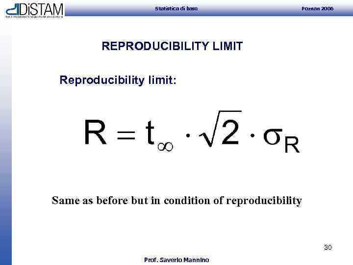Statistica di base Poznan 2006 REPRODUCIBILITY LIMIT Reproducibility limit: Same as before but