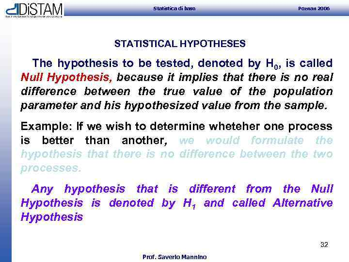 Statistica di base Poznan 2006 STATISTICAL HYPOTHESES The hypothesis to be tested, denoted