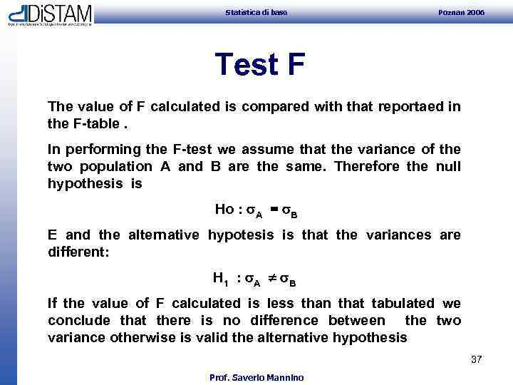 Statistica di base Poznan 2006 Test F The value of F calculated is