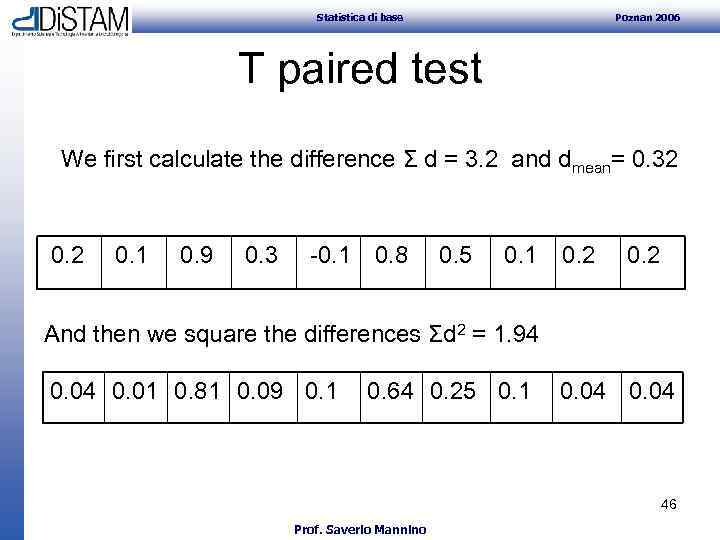 Statistica di base Poznan 2006 T paired test We first calculate the difference