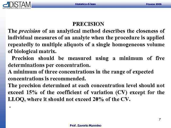 Statistica di base Poznan 2006 PRECISION The precision of an analytical method describes