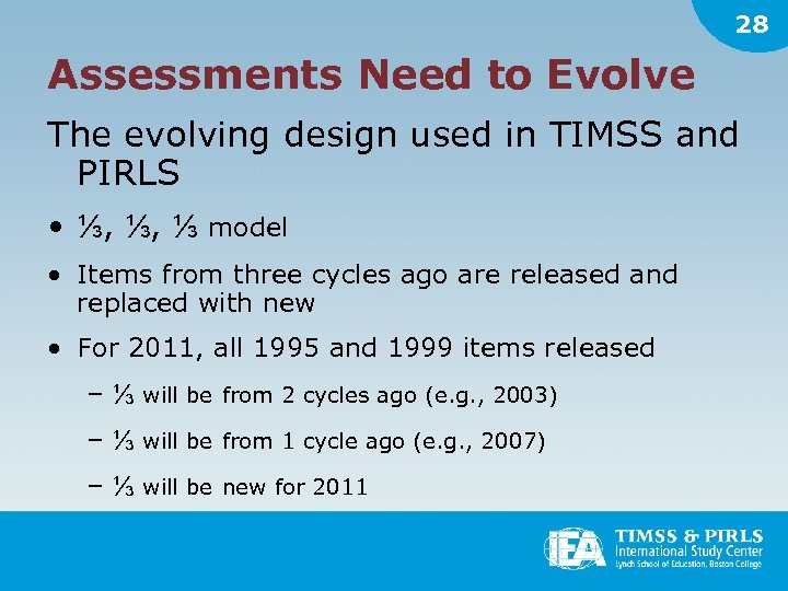 28 Assessments Need to Evolve The evolving design used in TIMSS and PIRLS •