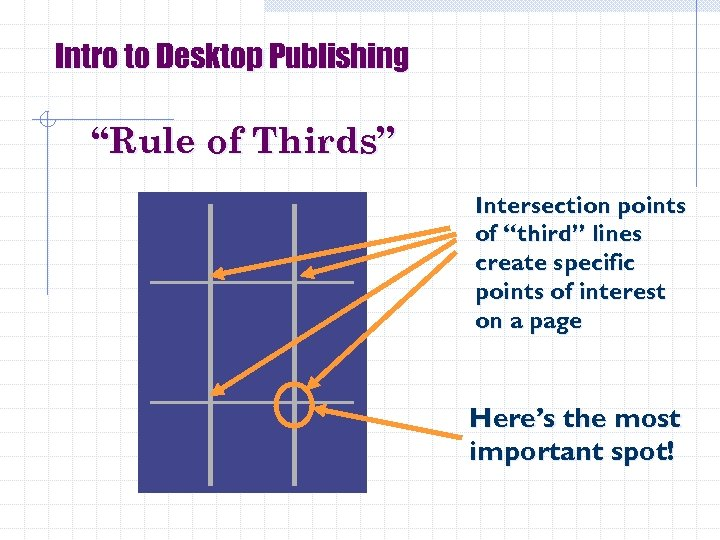 """Intro to Desktop Publishing """"Rule of Thirds"""" Intersection points of """"third"""" lines create specific"""
