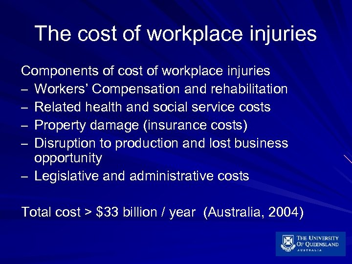 The cost of workplace injuries Components of cost of workplace injuries – Workers' Compensation