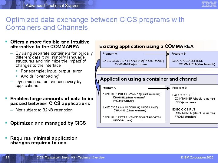 Advanced Technical Support Optimized data exchange between CICS programs with Containers and Channels §