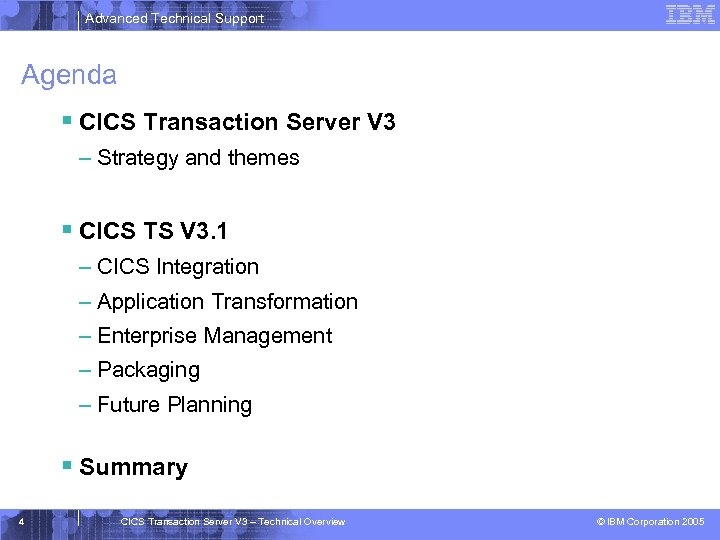 Advanced Technical Support Agenda § CICS Transaction Server V 3 – Strategy and themes