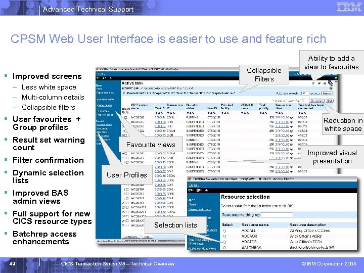 Advanced Technical Support CPSM Web User Interface is easier to use and feature rich