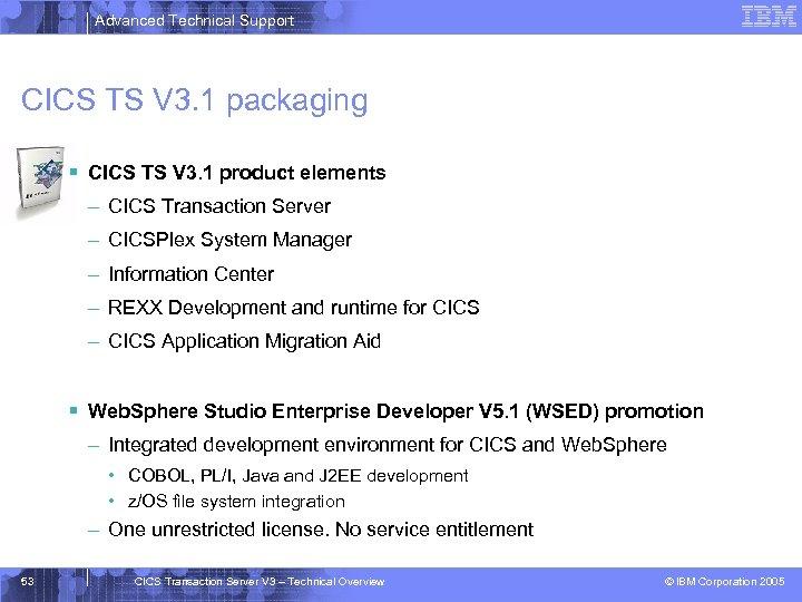Advanced Technical Support CICS TS V 3. 1 packaging § CICS TS V 3.
