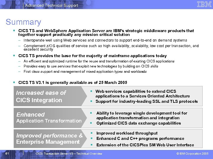 Advanced Technical Support Summary § CICS TS and Web. Sphere Application Server are IBM's