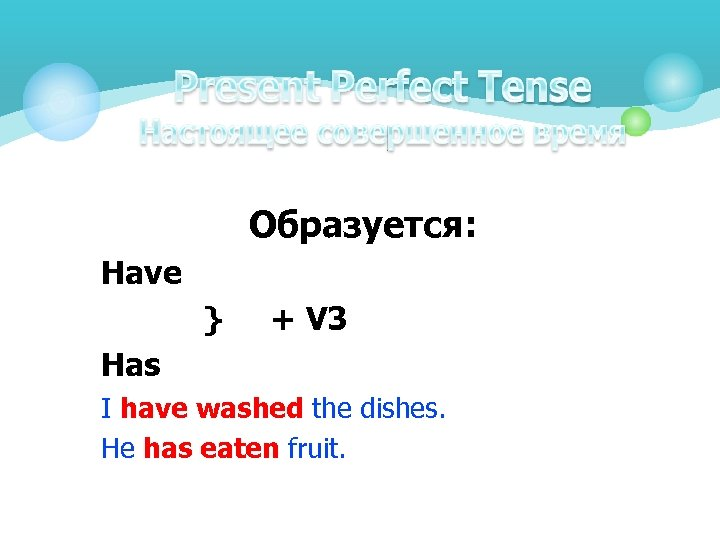 Образуется: Have } + V 3 Has I have washed the dishes. He has