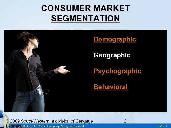 CONSUMER MARKET SEGMENTATION • Demographic • Geographic • Psychographic • Behavioral © 2009 South-Western,