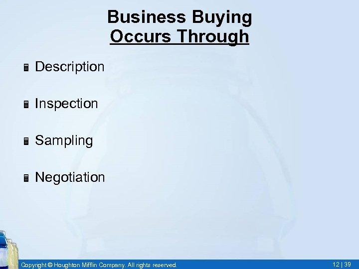 Business Buying Occurs Through Ë Description Ë Inspection Ë Sampling Ë Negotiation Copyright ©