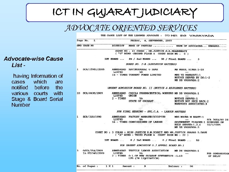 ICT IN GUJARAT JUDICIARY ADVOCATE ORIENTED SERVICES Advocate-wise Cause List - having Information of
