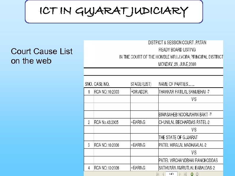 ICT IN GUJARAT JUDICIARY Court Cause List on the web