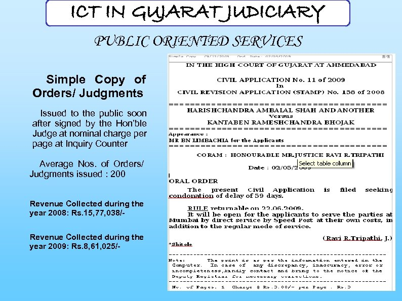 ICT IN GUJARAT JUDICIARY PUBLIC ORIENTED SERVICES Simple Copy of Orders/ Judgments Issued to