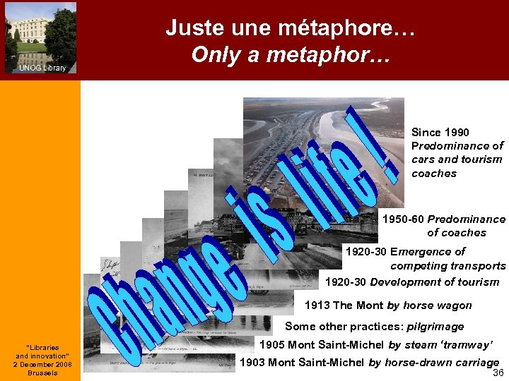 UNOG Library Juste une métaphore… Only a metaphor… Since 1990 Predominance of cars and