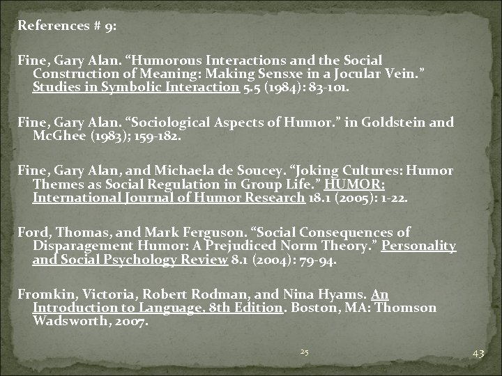 """References # 9: Fine, Gary Alan. """"Humorous Interactions and the Social Construction of Meaning:"""