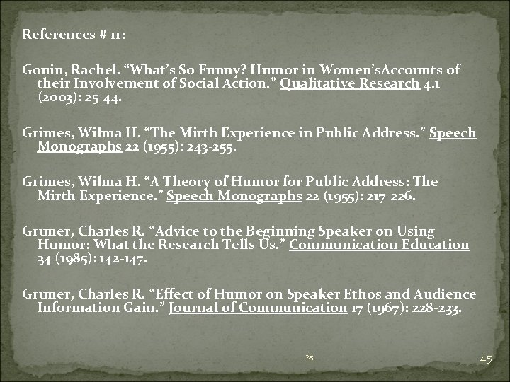 """References # 11: Gouin, Rachel. """"What's So Funny? Humor in Women's. Accounts of their"""