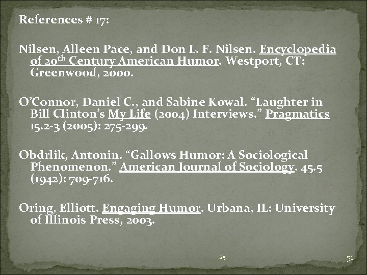 References # 17: Nilsen, Alleen Pace, and Don L. F. Nilsen. Encyclopedia of 20