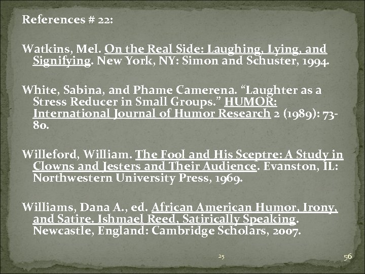 References # 22: Watkins, Mel. On the Real Side: Laughing, Lying, and Signifying. New