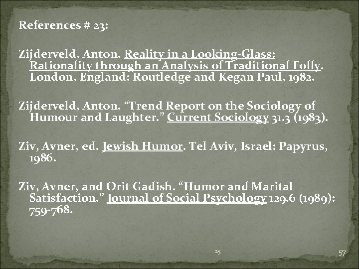 References # 23: Zijderveld, Anton. Reality in a Looking-Glass: Rationality through an Analysis of