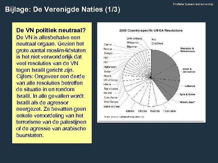 Bijlage: De Verenigde Naties (1/3) De VN politiek neutraal? De VN is allesbehalve een