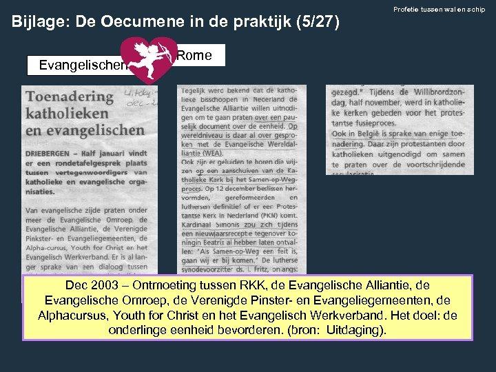 Bijlage: De Oecumene in de praktijk (5/27) Evangelischen Profetie tussen wal en schip Rome