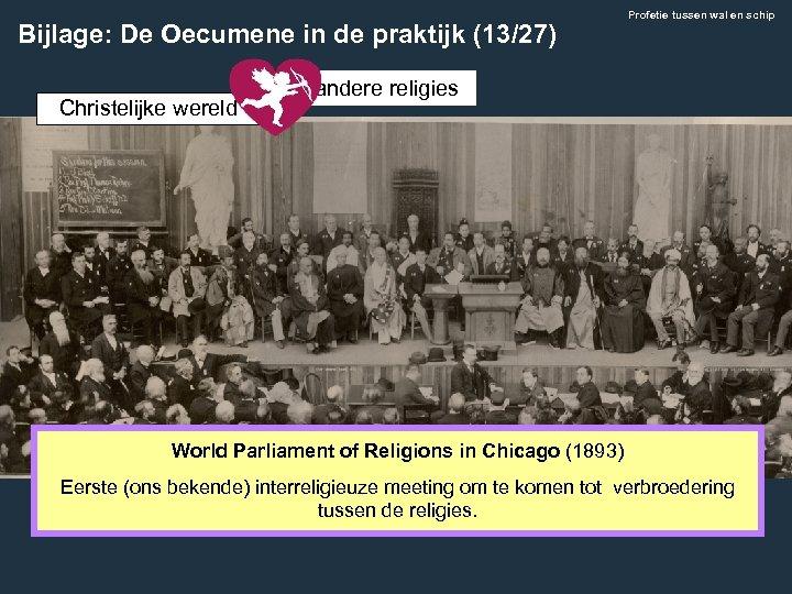 Bijlage: De Oecumene in de praktijk (13/27) Christelijke wereld Profetie tussen wal en schip