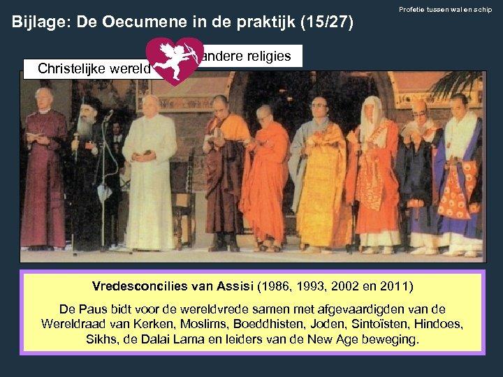Bijlage: De Oecumene in de praktijk (15/27) Christelijke wereld Profetie tussen wal en schip