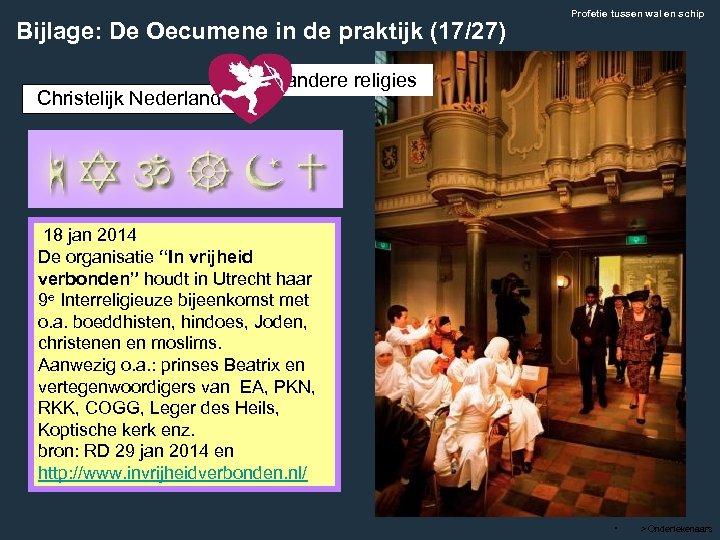 Bijlage: De Oecumene in de praktijk (17/27) Christelijk Nederland Profetie tussen wal en schip
