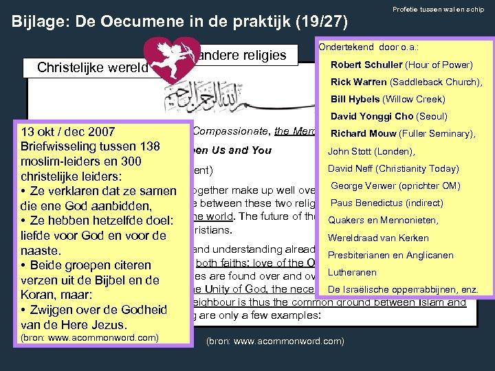 Bijlage: De Oecumene in de praktijk (19/27) Christelijke wereld • andere religies Profetie tussen