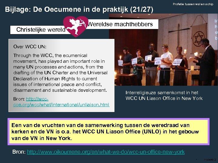 Bijlage: De Oecumene in de praktijk (21/27) Christelijke wereld Profetie tussen wal en schip