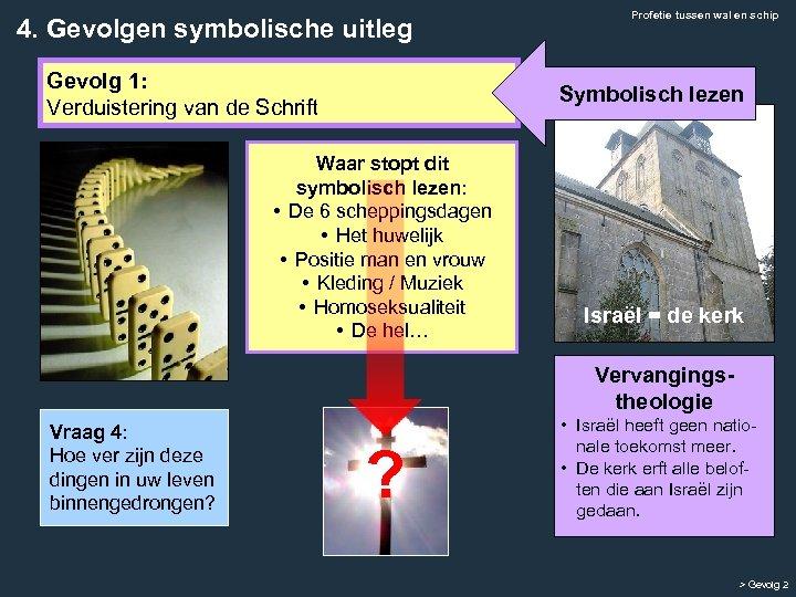 4. Gevolgen symbolische uitleg Gevolg 1: Verduistering van de Schrift Profetie tussen wal en