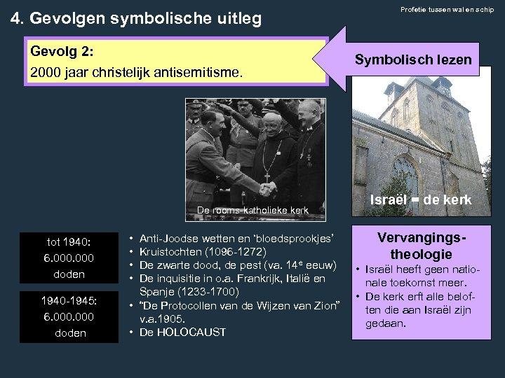 4. Gevolgen symbolische uitleg Gevolg 2: 2000 jaar christelijk antisemitisme. De rooms-katholieke kerk tot