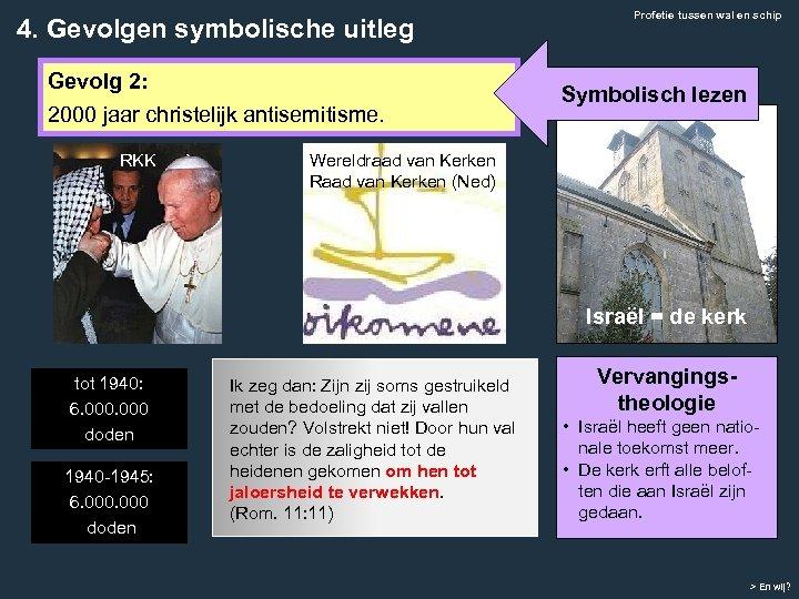 4. Gevolgen symbolische uitleg Gevolg 2: 2000 jaar christelijk antisemitisme. RKK Profetie tussen wal
