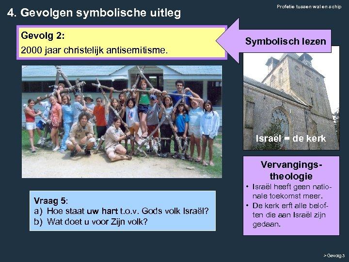 4. Gevolgen symbolische uitleg Gevolg 2: 2000 jaar christelijk antisemitisme. Profetie tussen wal en
