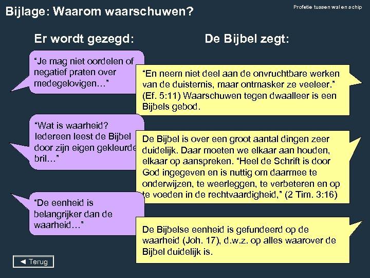Profetie tussen wal en schip Bijlage: Waarom waarschuwen? Er wordt gezegd: De Bijbel zegt: