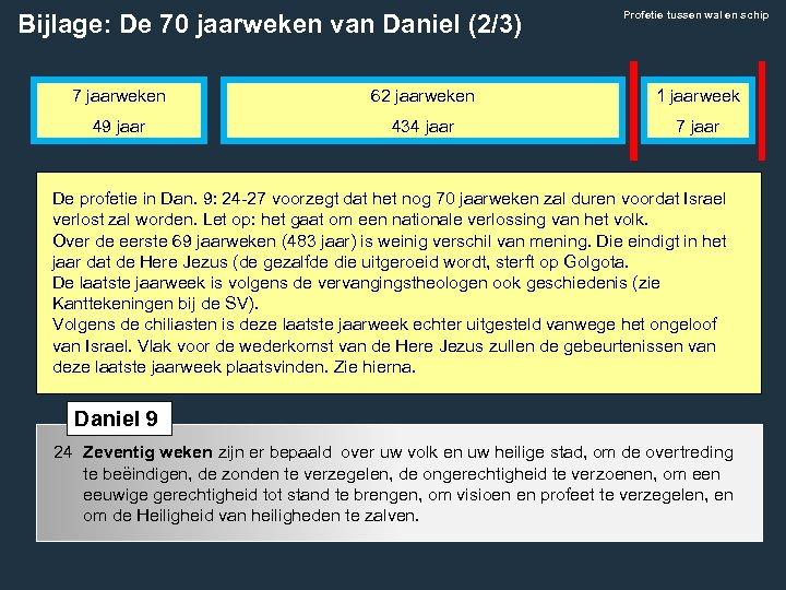 Bijlage: De 70 jaarweken van Daniel (2/3) Profetie tussen wal en schip 7 jaarweken